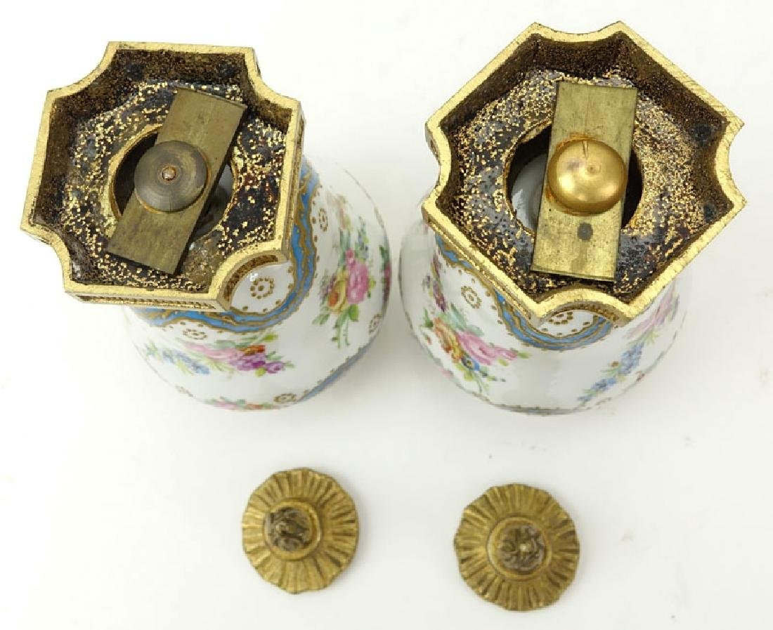 Pair 19th Century French Sevres Bronze Mounted Enamel - 5
