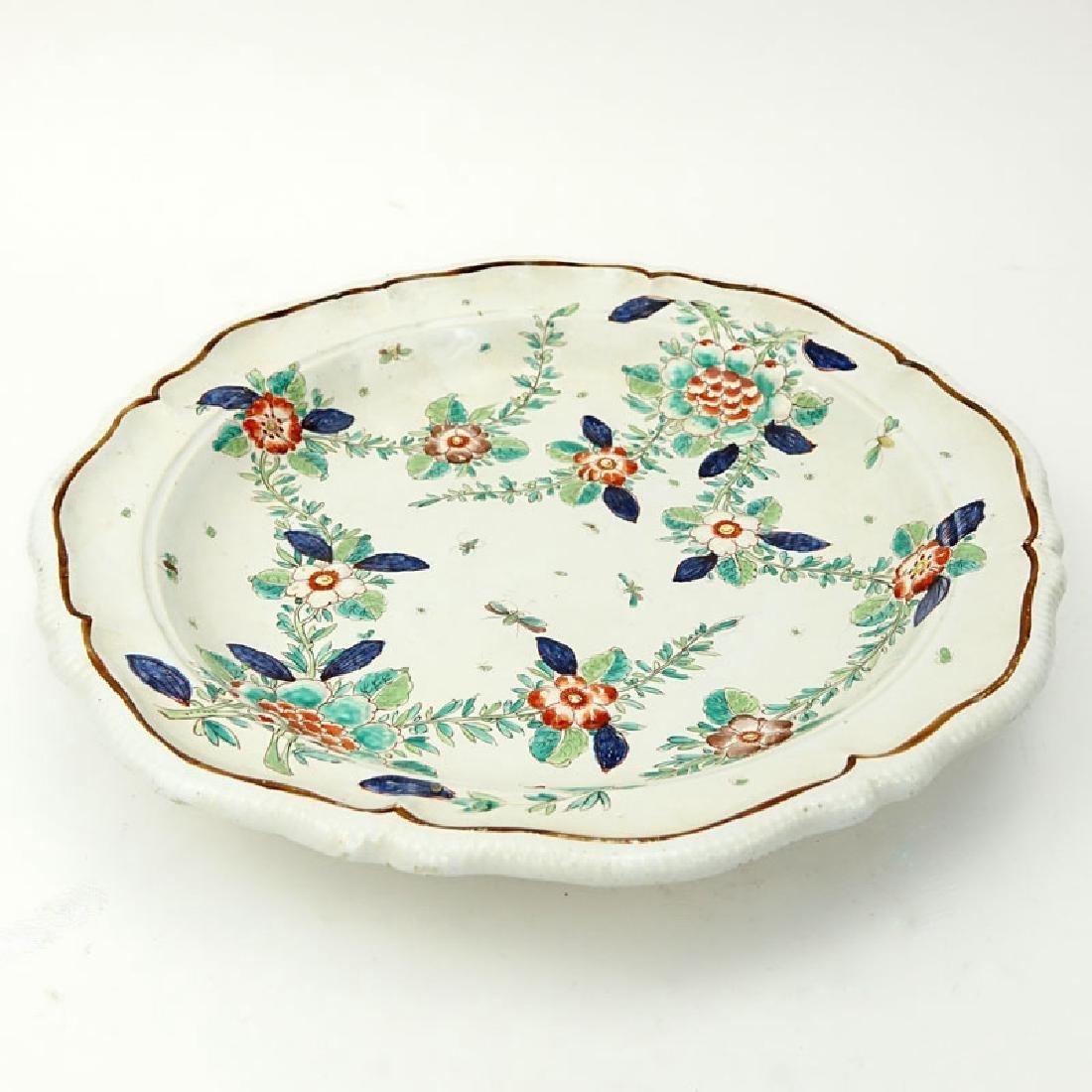 Antique Faience Raised Flower Hand Painted Ceramic