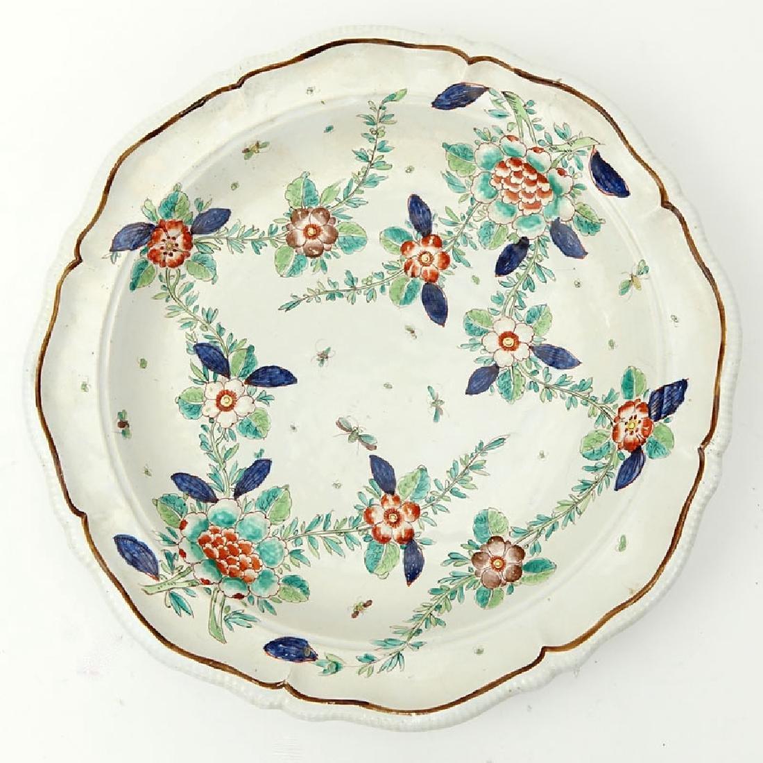 Antique Faience Raised Flower Hand Painted Ceramic - 2