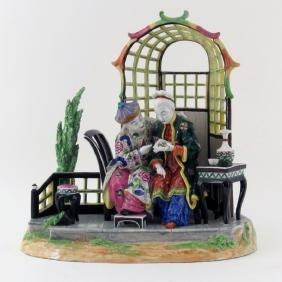 """Large Vintage Dresden Porcelain Group """"Chinese Couple"""""""