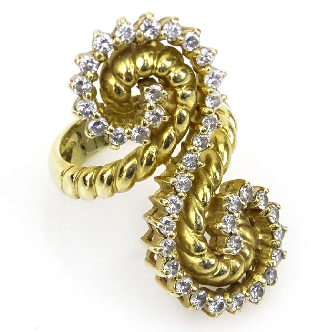 Retro 18 Kt Yellow Gold & Round Cut Diamond Spiral Ring