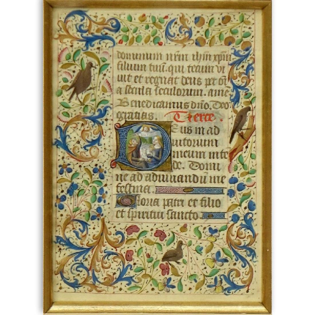 Early Hand Painted Illuminated Manuscript in finely