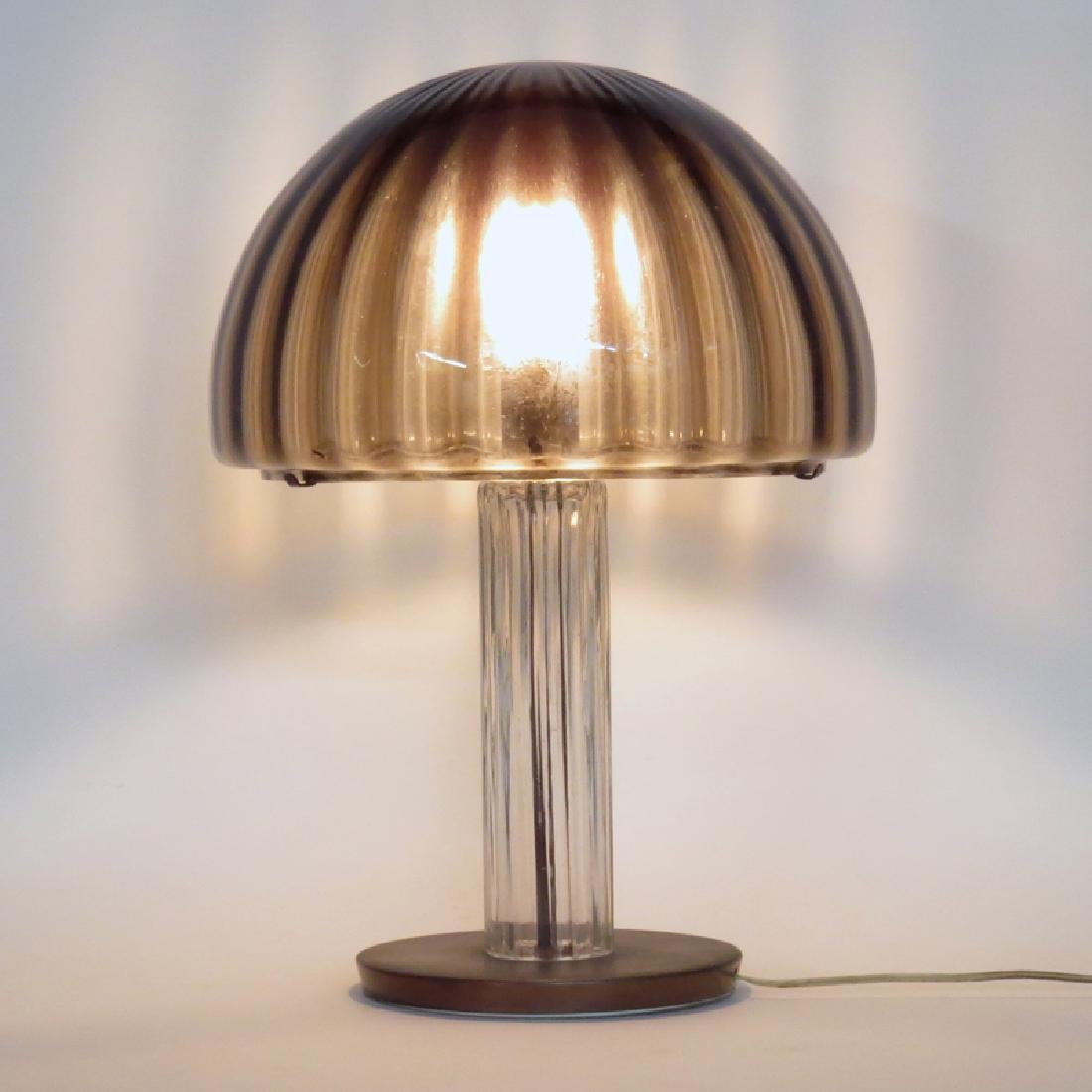 Mid Century Modern Fluted Glass and Copper Mushroom