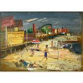 """Louis Bosa, American  (1905 - 1981) Oil on board """"Coney"""