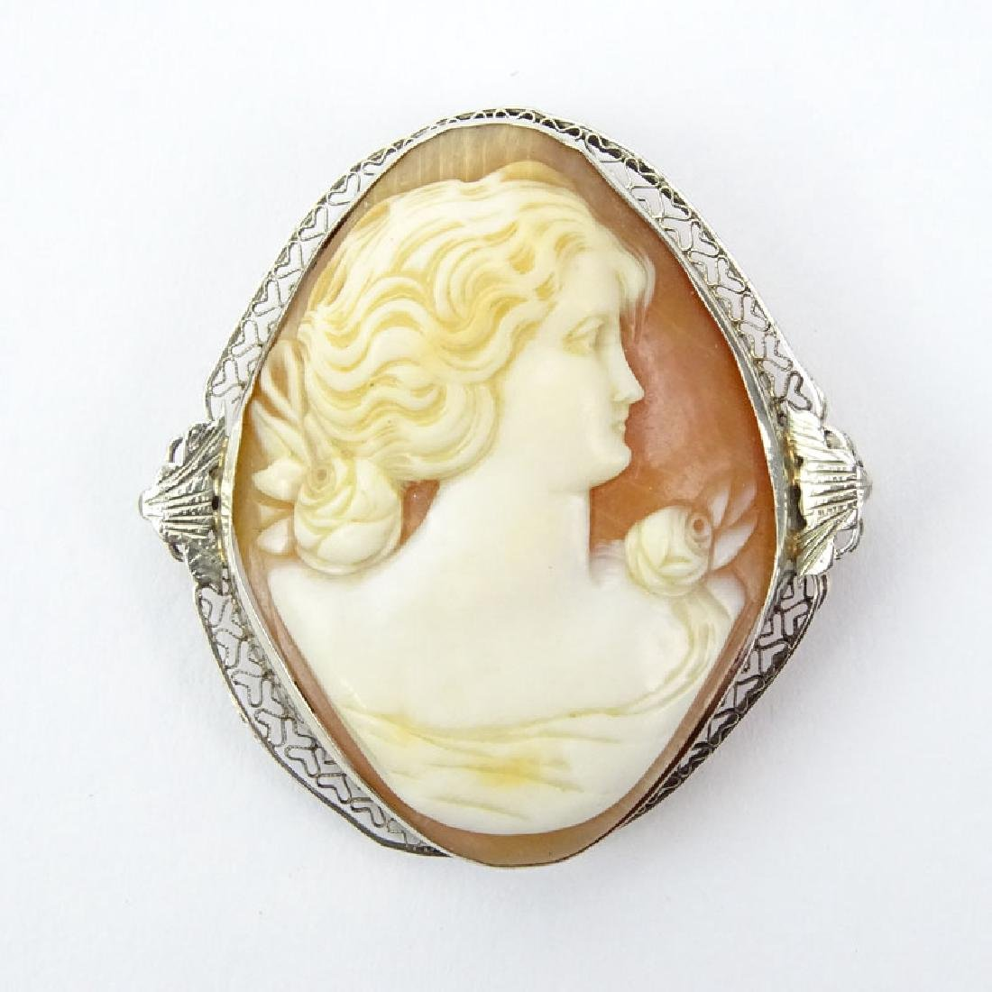 Antique Carved Shell Cameo and White Metal