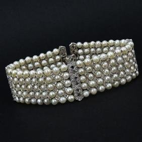 Edwardian style Five Row Pearl, 1.94 Carat Diamond and