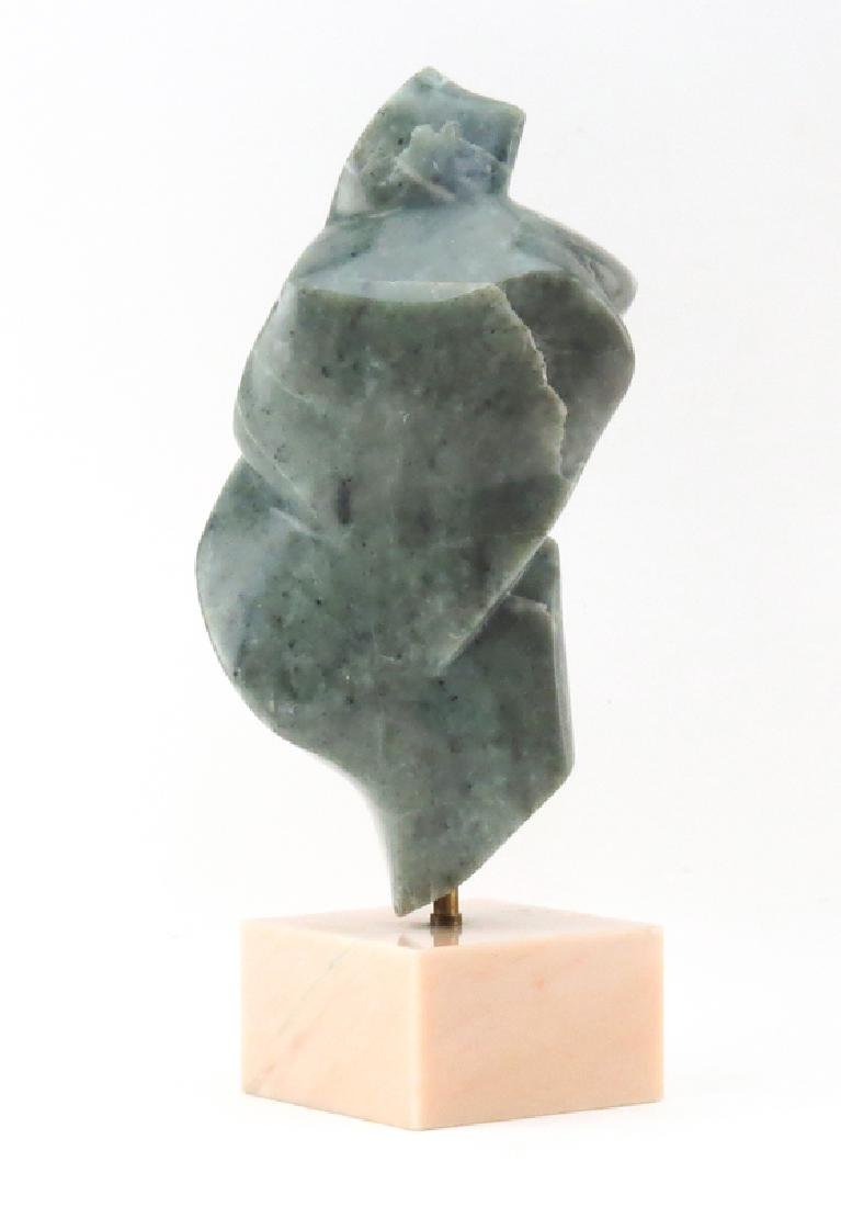 Mid Century Modern Abstract Green Stone Sculpture on - 2