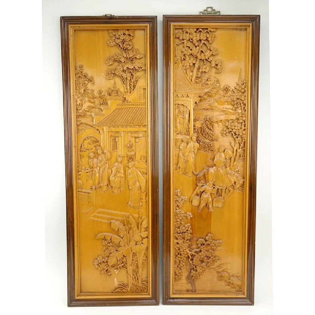 Pair of Mid 20th Century Chinese Carved Wood Relief