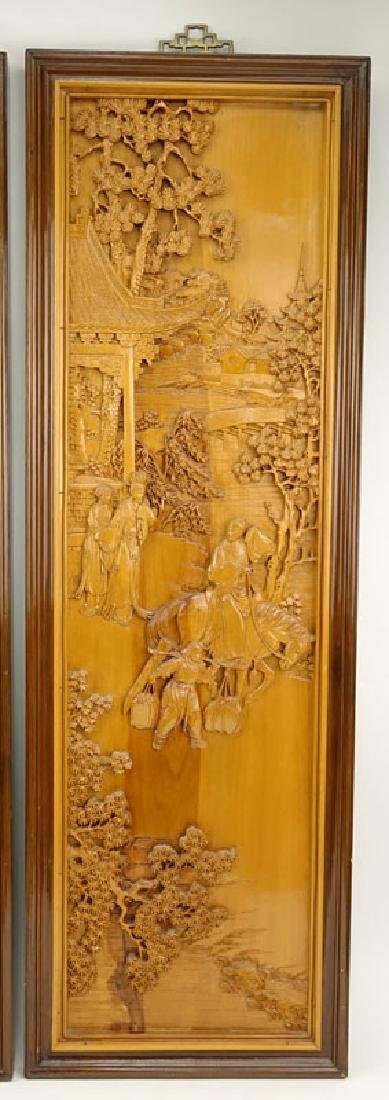 Pair of Mid 20th Century Chinese Carved Wood Relief - 2