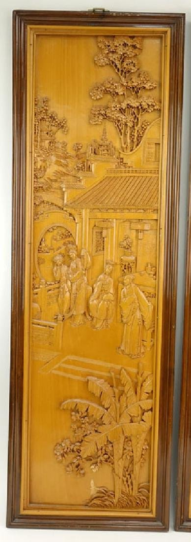 Pair of Mid 20th Century Chinese Carved Wood Relief - 3