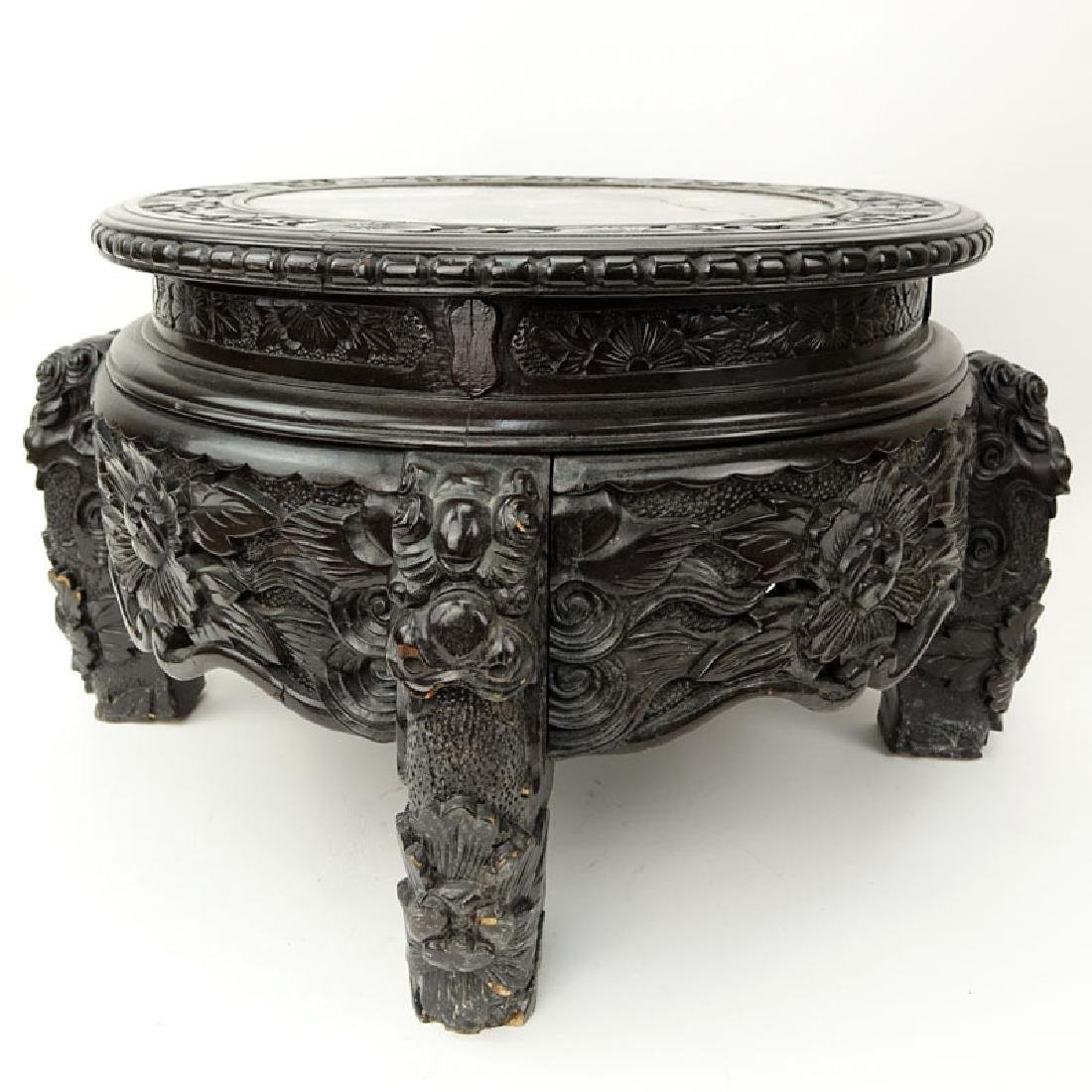 19/20th Century Chinese Carved Teakwood Marble Top - 4