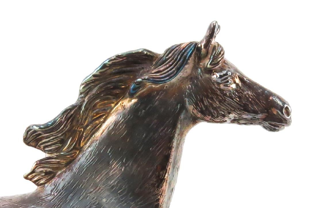 Ben Zion Judaica Sterling Silver Horse Sculpture On - 3