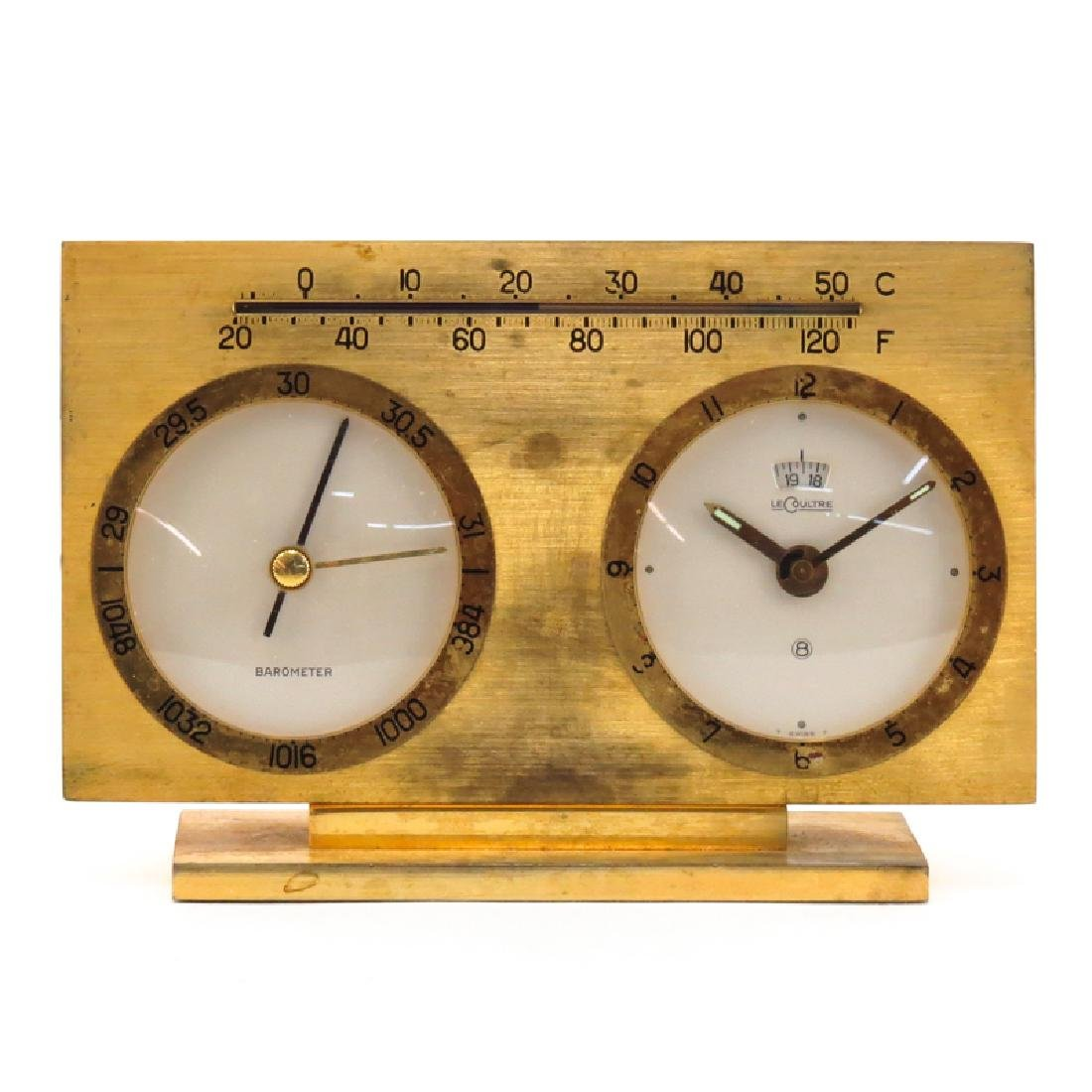 Vintage Le Coultre Brass Barometer Thermometer Desk