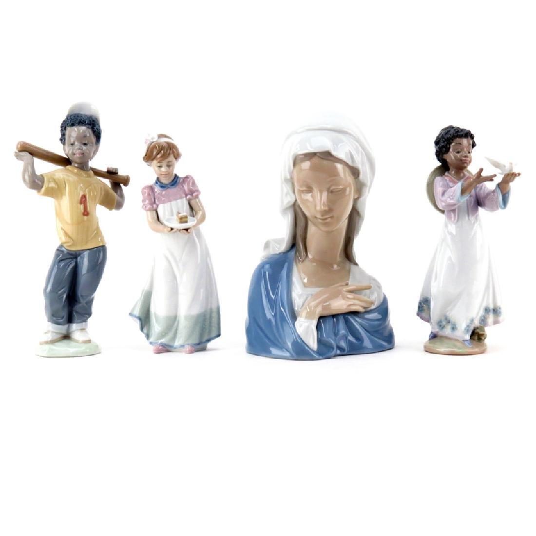 Grouping of Four (4) Lladro Glazed Porcelain Figurine.
