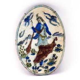Antique Persian Glazed  Faience Oval Pottery Plaque.