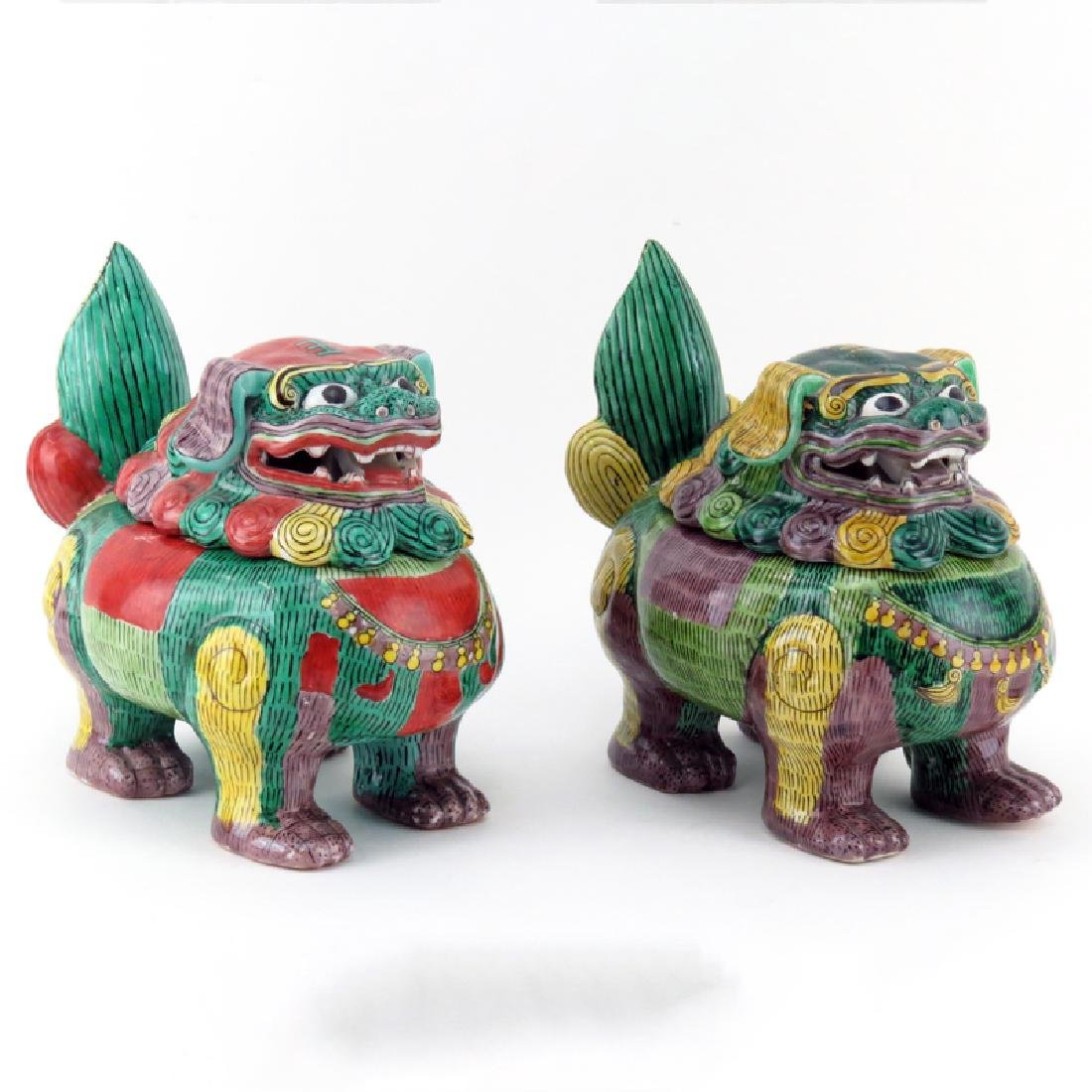 Pair of Antique Chinese Painted Porcelain Foo Dog