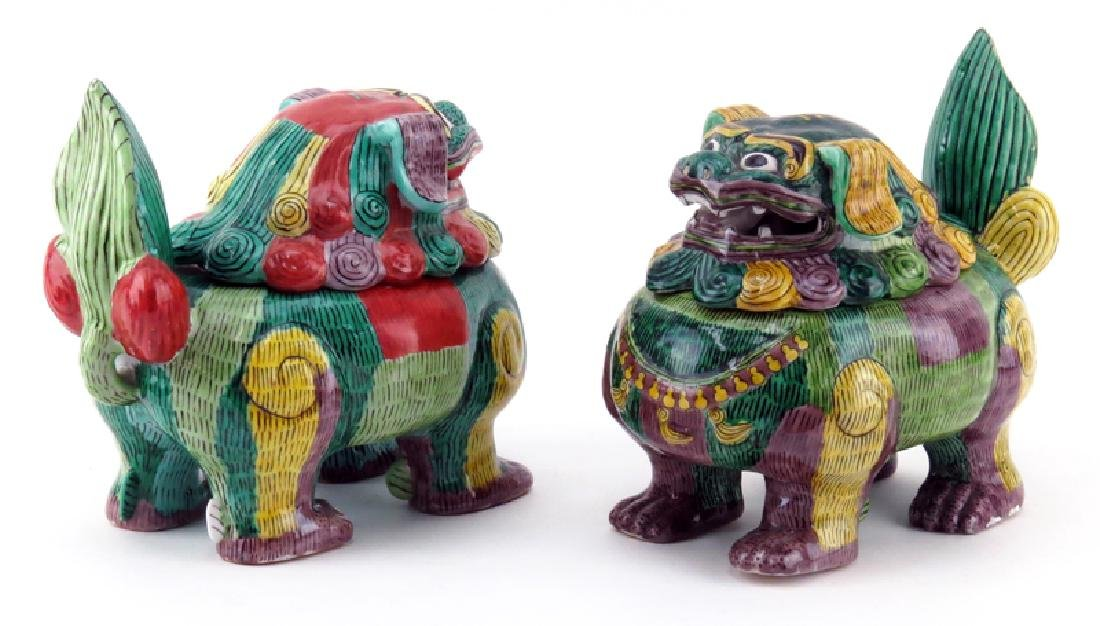 Pair of Antique Chinese Painted Porcelain Foo Dog - 3