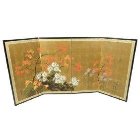 20th Century Japanese Four Panel Screen with Floral