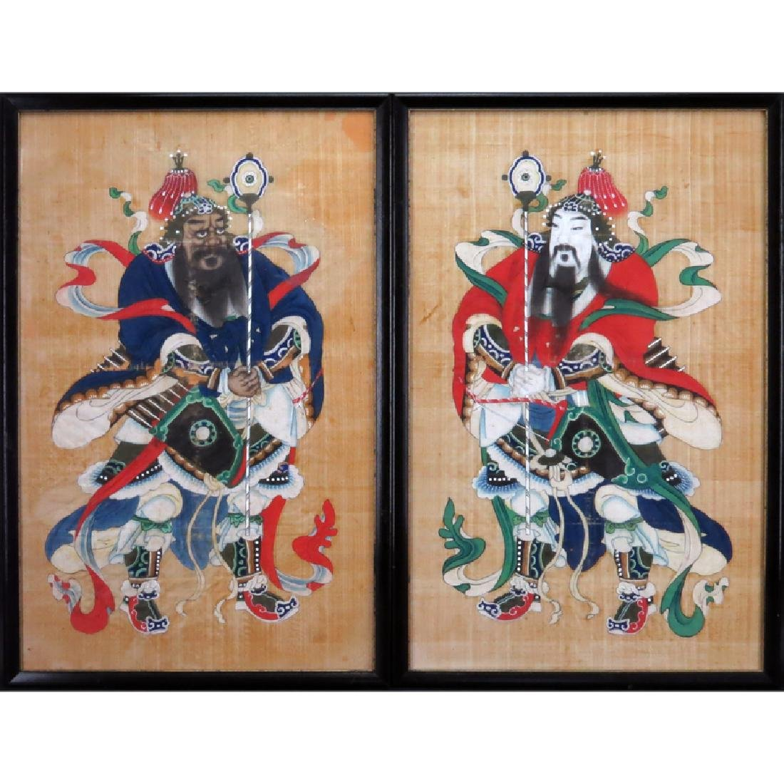 Pair of Chinese Silk Paintings of Court Figures. Some