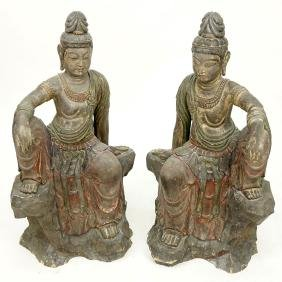 Pair Of Modern Asian Polychrome Carved Wood Buddha