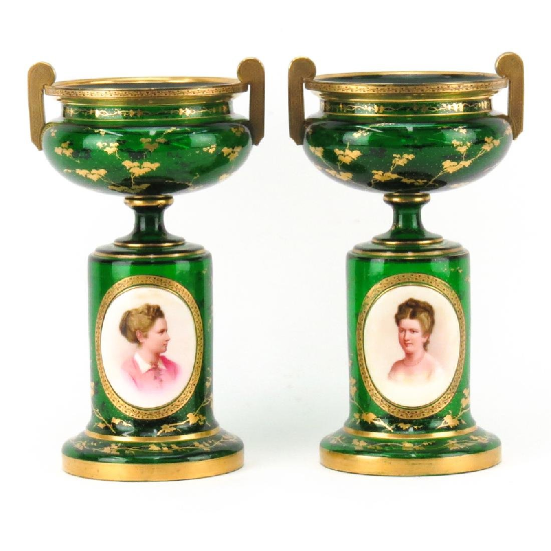 Pair of 19th Century Bohemian Emerald Green and Gilt