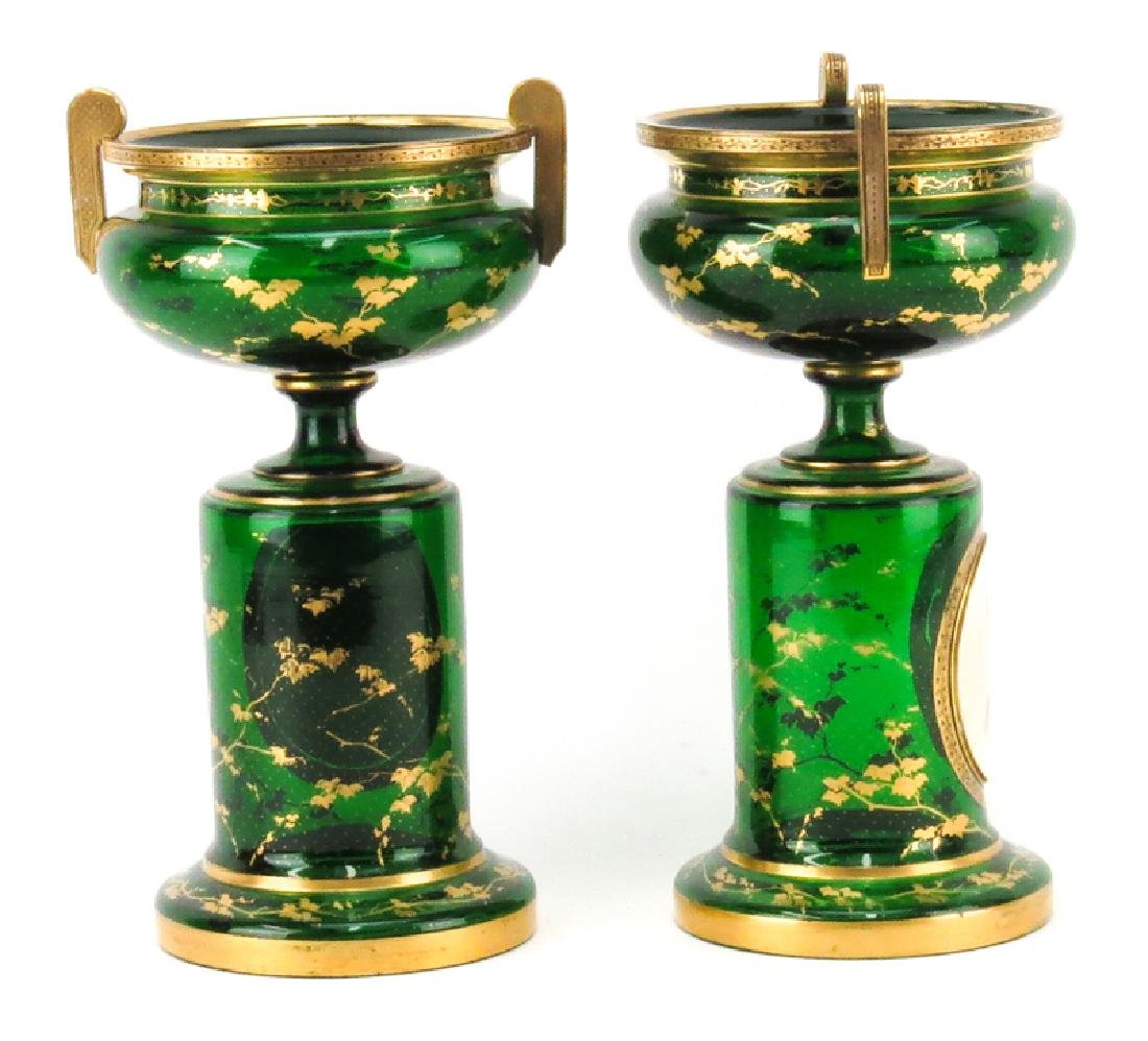 Pair of 19th Century Bohemian Emerald Green and Gilt - 2
