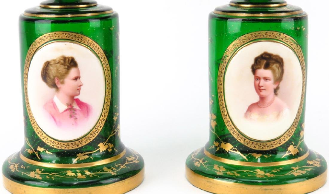 Pair of 19th Century Bohemian Emerald Green and Gilt - 3