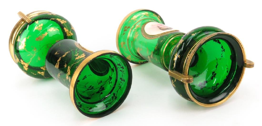 Pair of 19th Century Bohemian Emerald Green and Gilt - 4