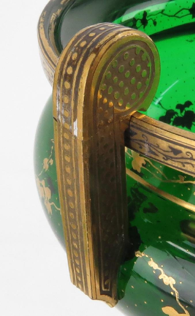 Pair of 19th Century Bohemian Emerald Green and Gilt - 5