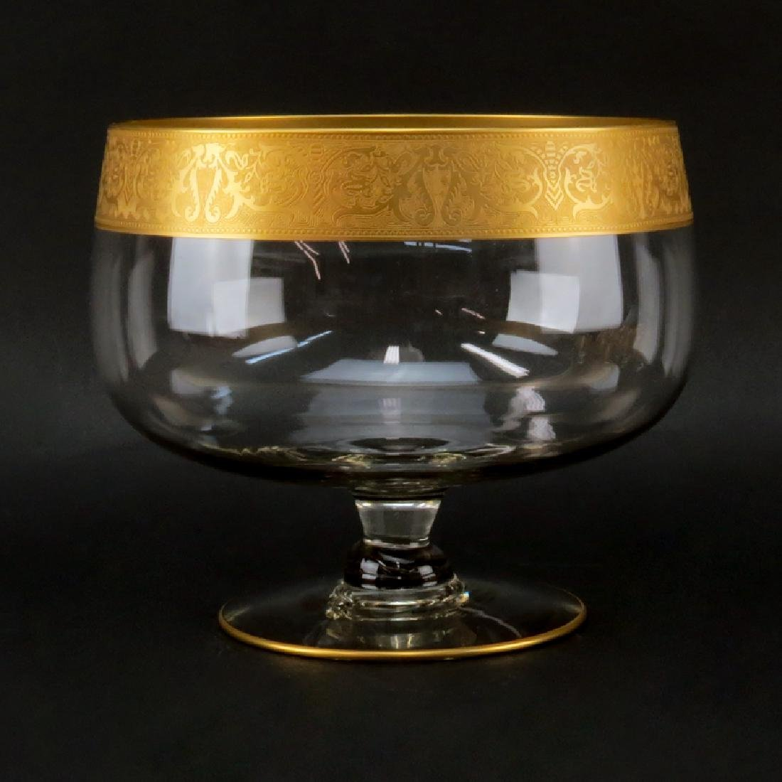 Vintage Mid Century Glass Punch Bowl Set With Gold Band - 3