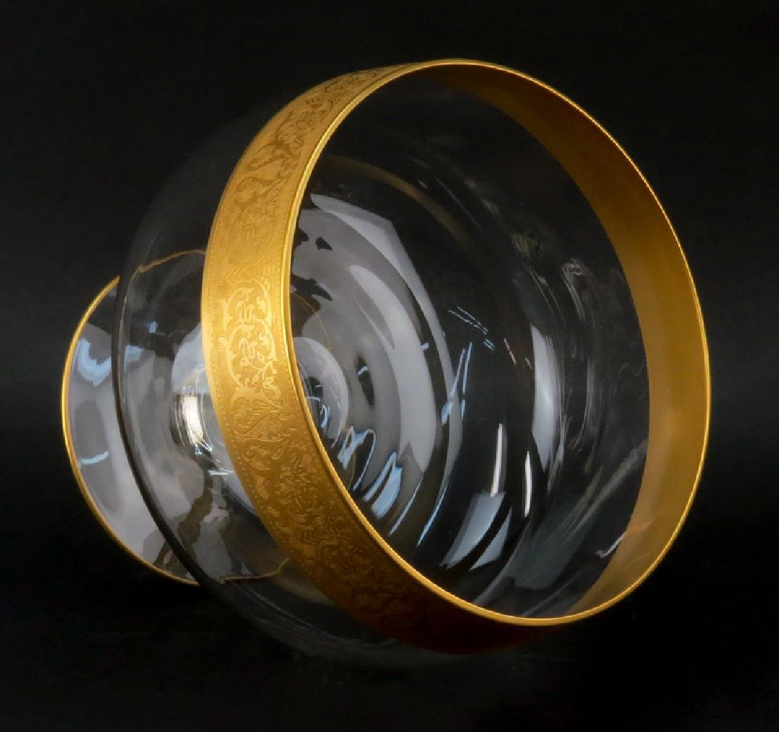 Vintage Mid Century Glass Punch Bowl Set With Gold Band - 4