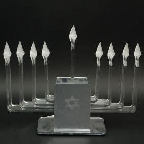 Contemporary Lucite Electric Menorah. Unsigned. Not