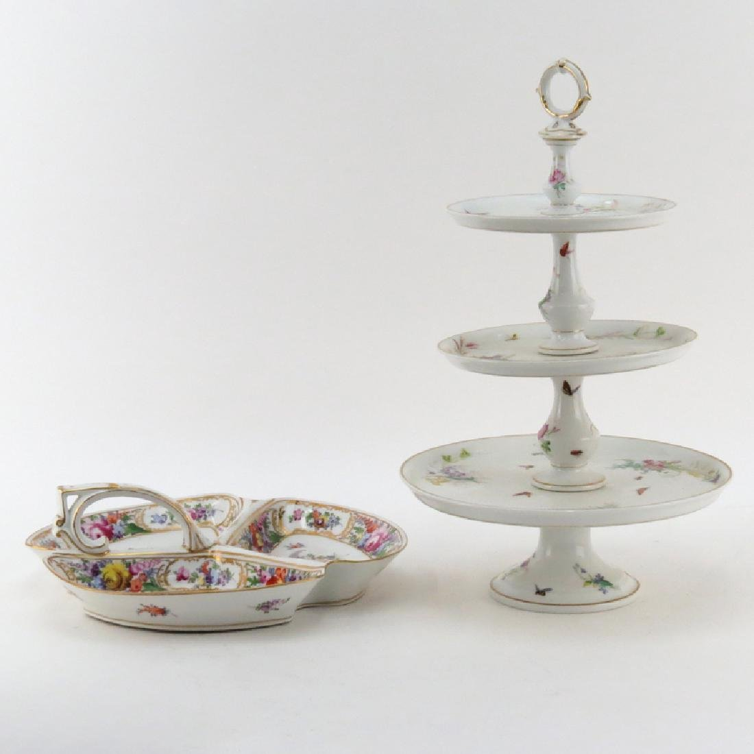 Grouping of Two (2) Hand Painted Porcelain Tabletop