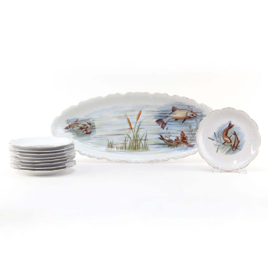 Vintage Ten (10) Piece Transferware Porcelain Fish