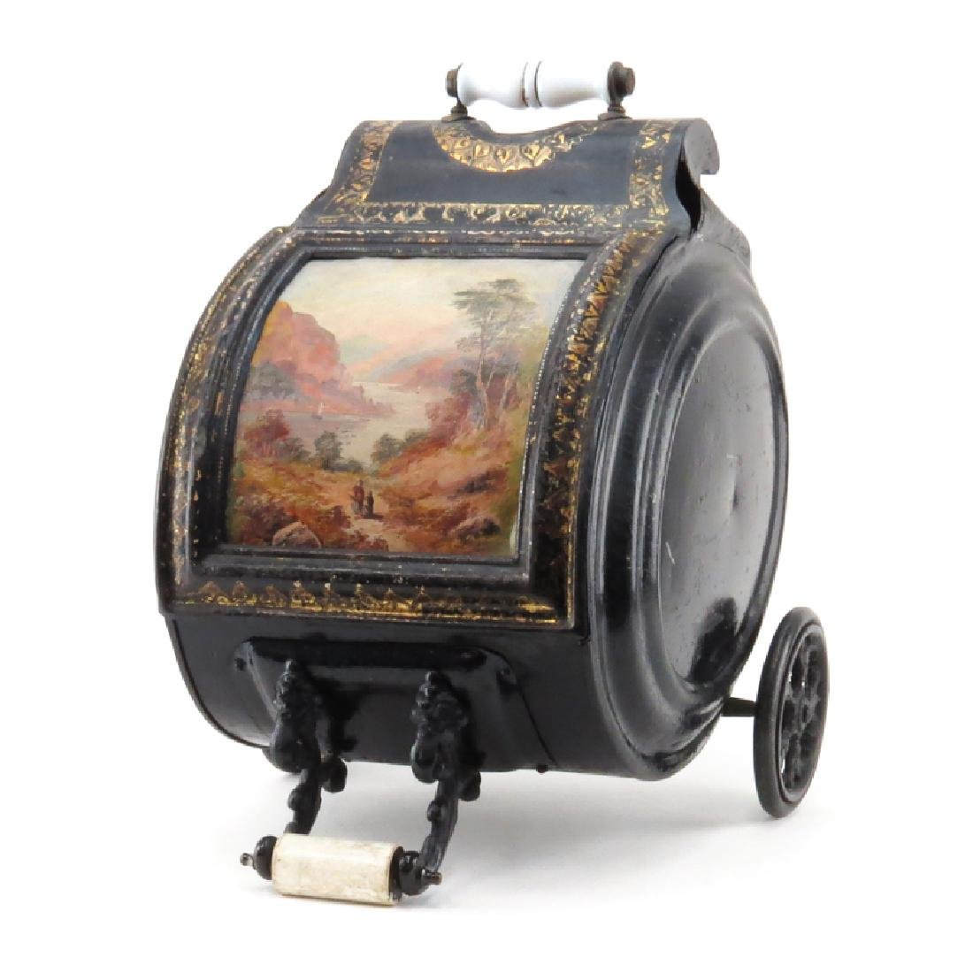 Antique Painted Tinware Coal Scuttle. Unsigned. Wear