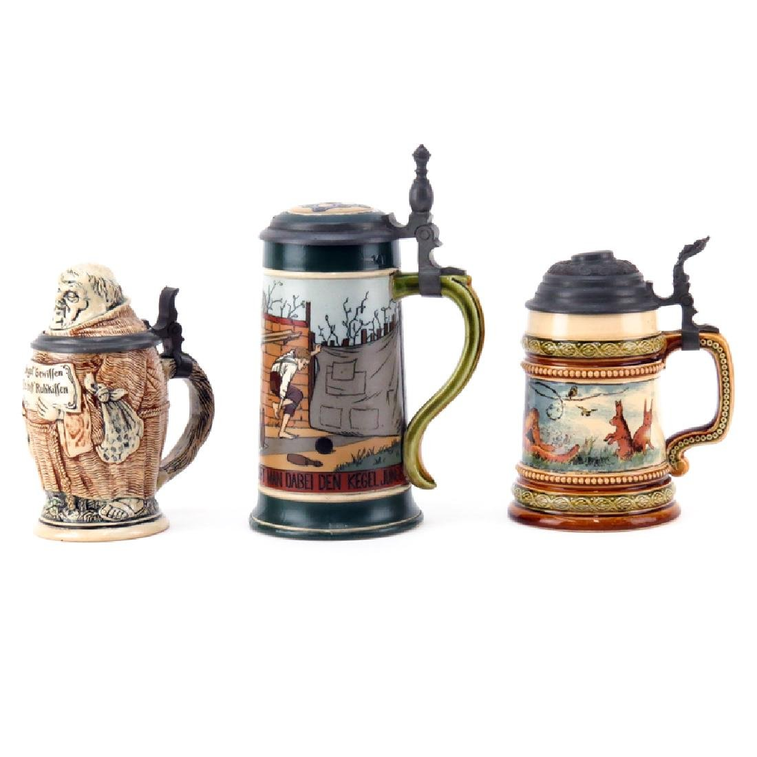 Three (3) Piece Lot of Vintage Steins. Includes 2 - 2