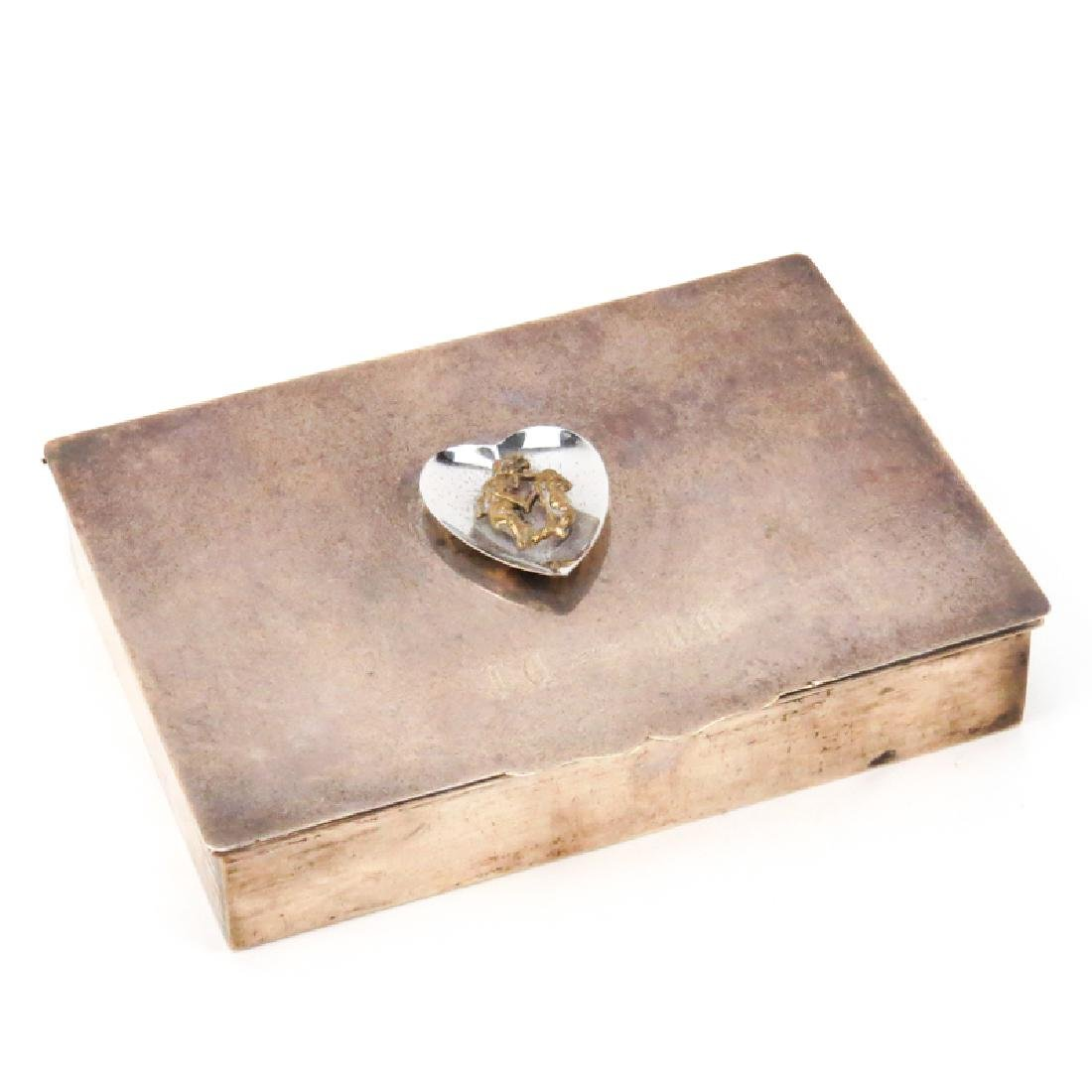 Sterling Silver Trinket Box With Wood Liner. Signed.