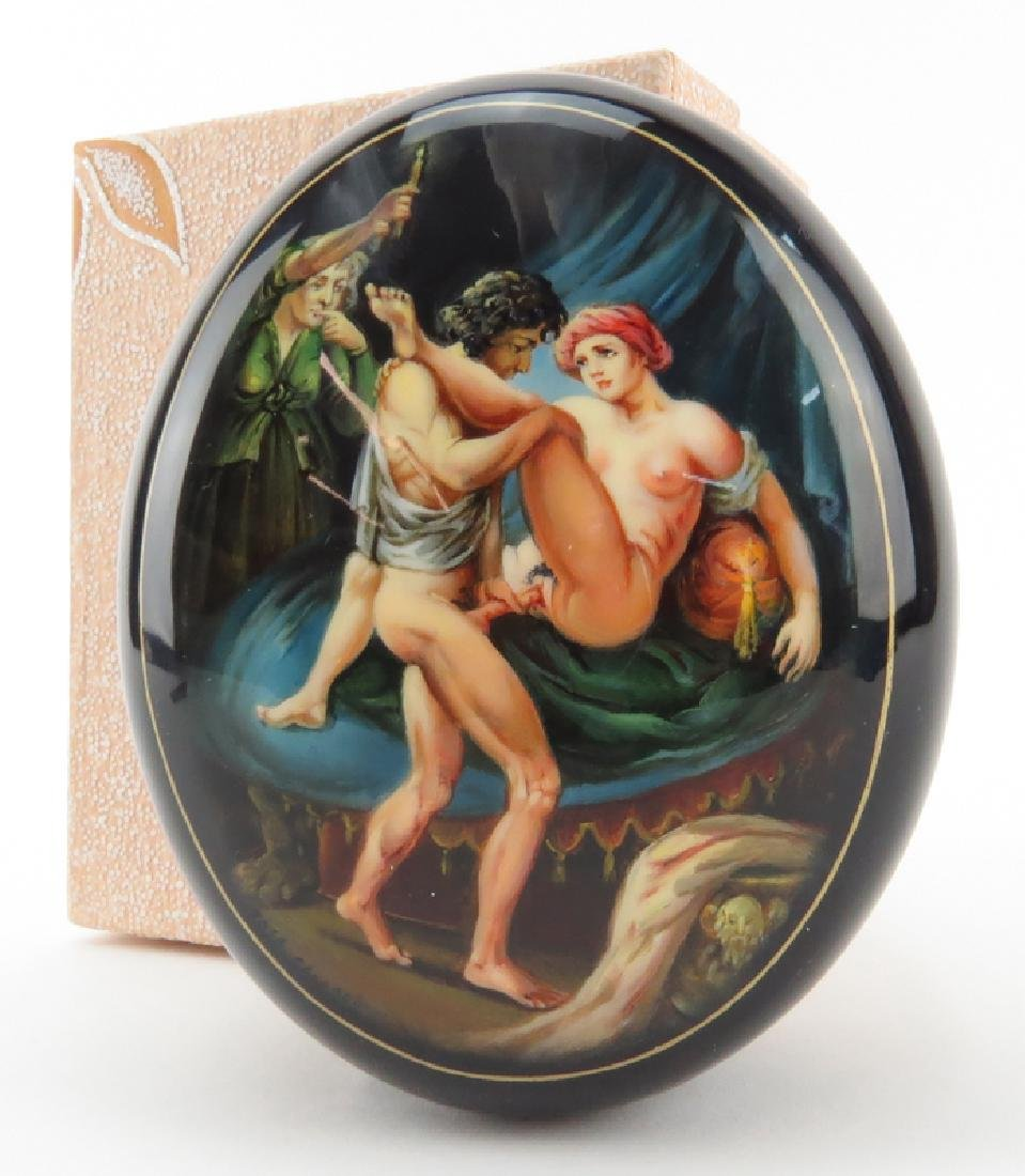 "Russian ""Erotica"" Lacquered Box. Unsigned. As new - 4"