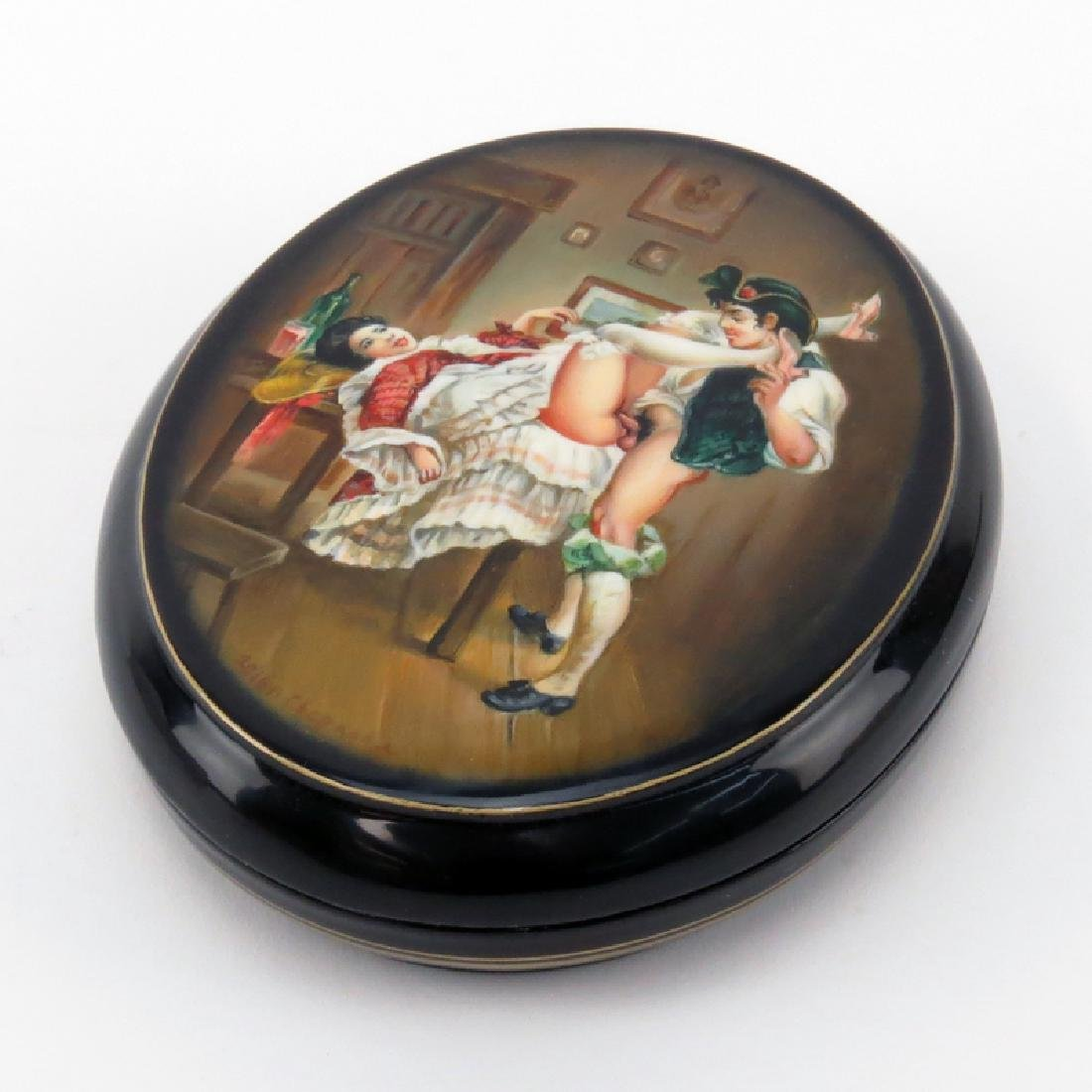 """Russian """"Erotica"""" Lacquered Box. Unsigned. As new"""