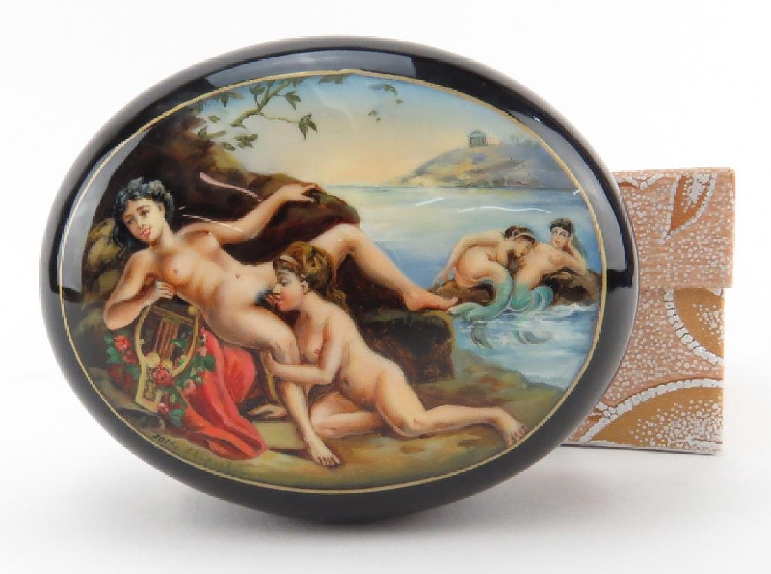 """Russian """"Erotica"""" Lacquered Box. Unsigned. As new - 4"""