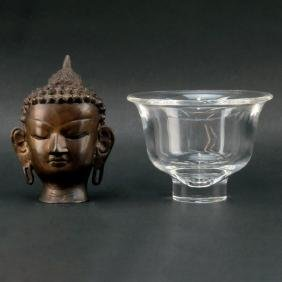 Grouping of Steuben Crystal Dish and Vintage Bronze