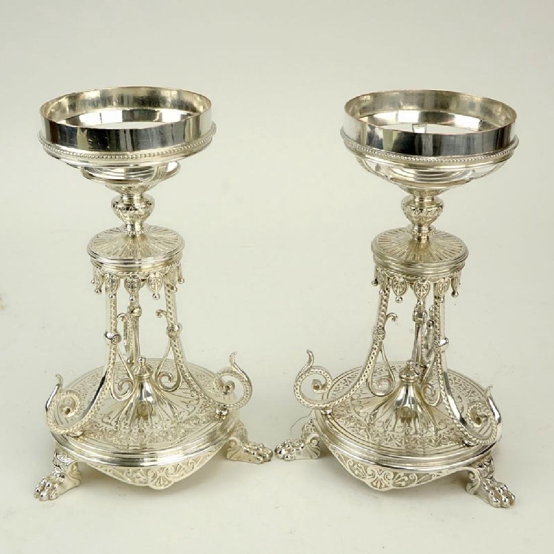 Pair of Elkington & Co Silver Plate Compote Bases.