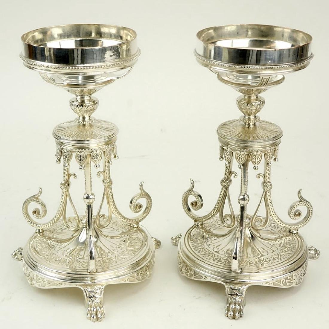 Pair of Elkington & Co Silver Plate Compote Bases. - 3