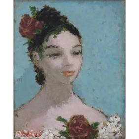 "Dietz Edzard, German (1893-1963) Oil on canvas ""Girl"