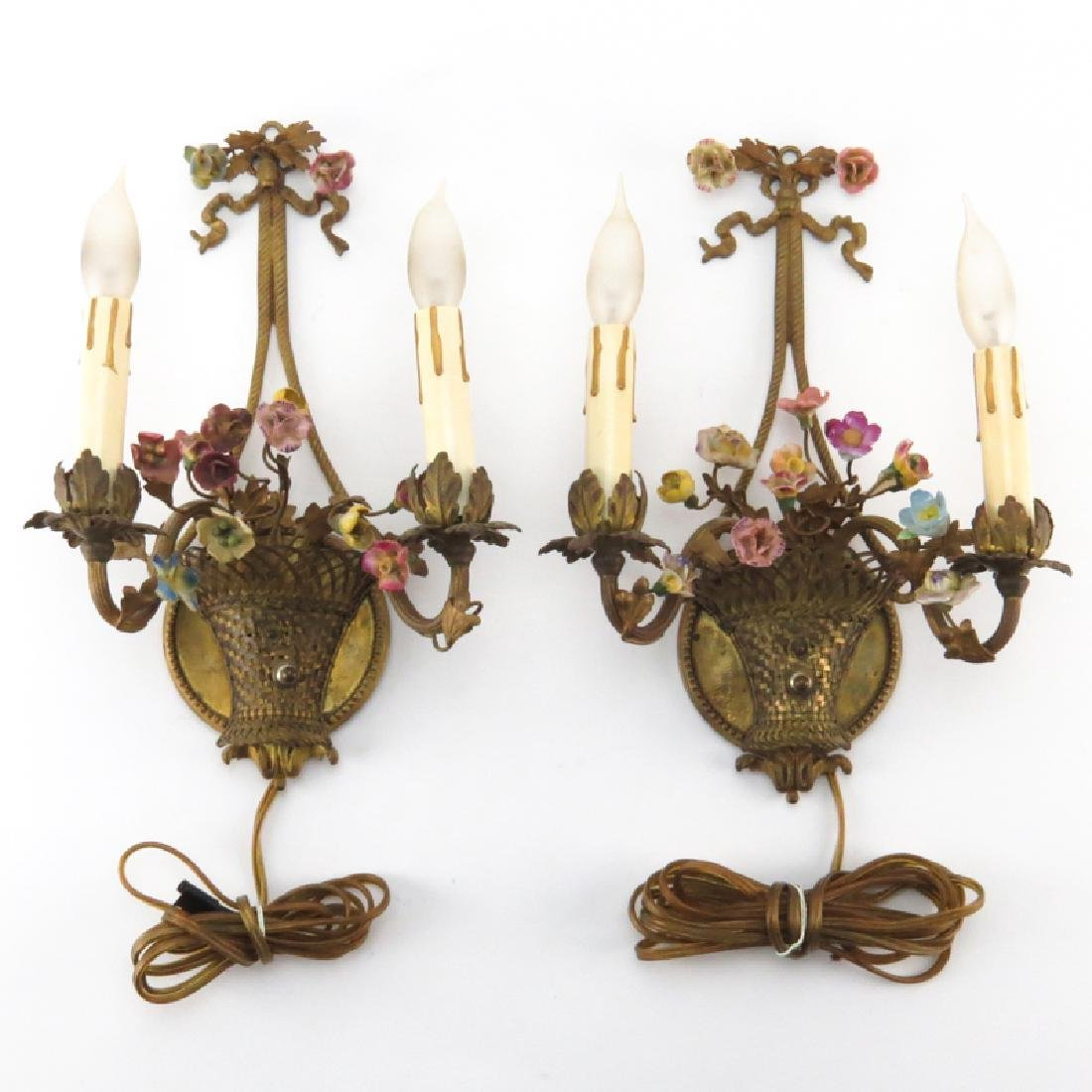Pair of Antique French Gilt Bronze Sconces With