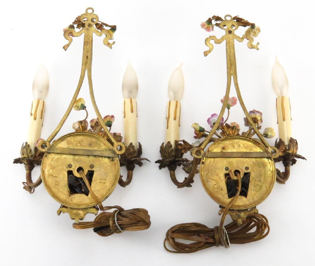 Pair of Antique French Gilt Bronze Sconces With - 2