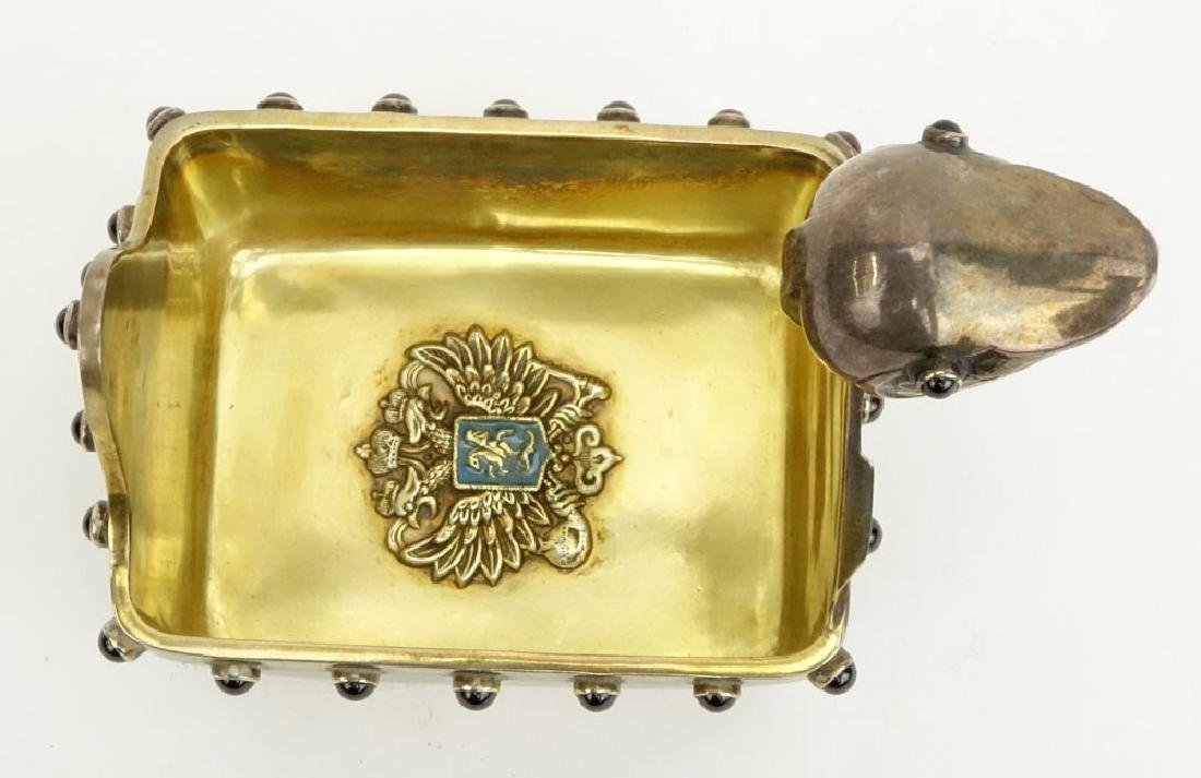 20th Century Russian 88 Silver Kovsh with Cabochon - 7