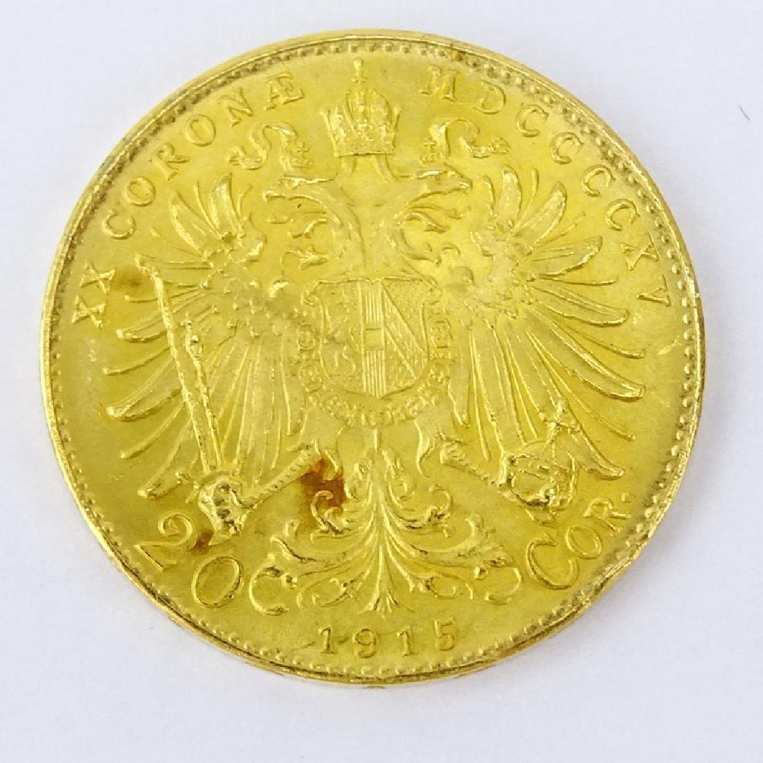 1915 Austrian 20 Corona Gold Coin. Approx. 6.8 grams. - 2