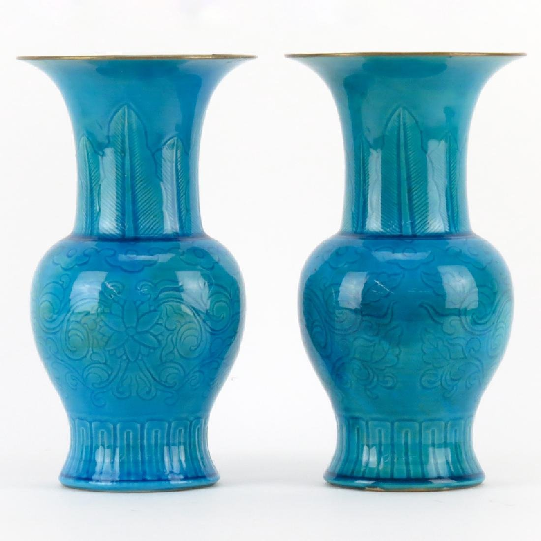 Pair of 19th Century Chinese Turquoise Glazed Baluster