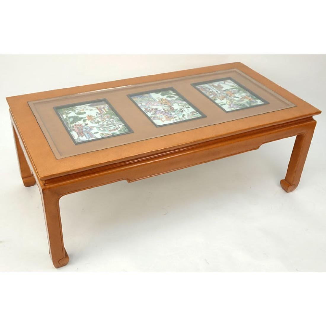 Mid Century Chinese Wooden Glass Top Coffee Table